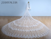 2020 Luxury 5 Meters Full Edge with Lace Bling Sequins Two Layers Long Wedding Veil with Comb White Ivory Bridal Veil