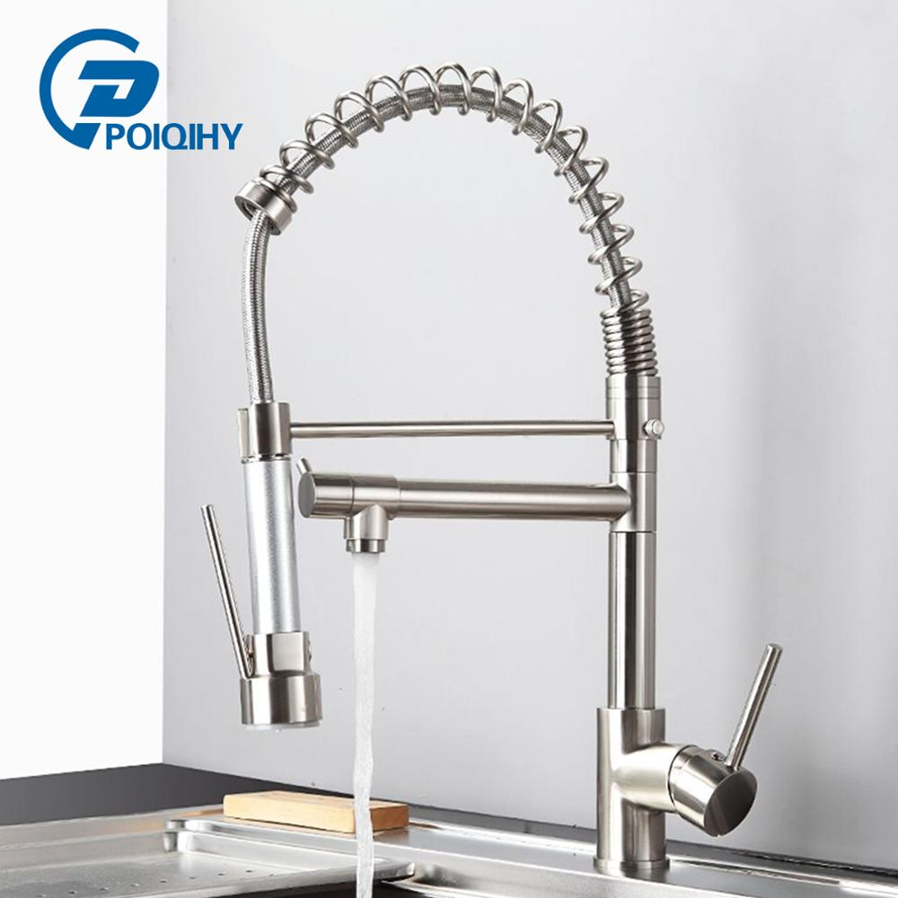 Kitchen Sink Faucet Taps Cold-Hot-Mixer Tap-Crane Brushed Shower-Spray Pull-Down Swivel-Spout