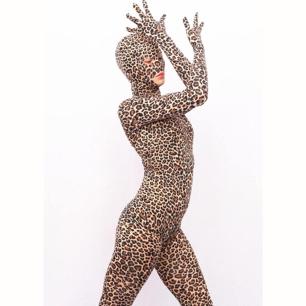 Leopard Print Lycra Full Coat Stage Clothing Cosplay One Piece Tights Zentai Costume Zipper Open Crotch Bodysuit Body Sculpting