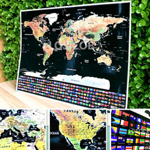 все цены на 82x59 cm big size Deluxe Edition Scratch World Map With Scratch Off Layer Visual Travel Journal for travel scratch map онлайн
