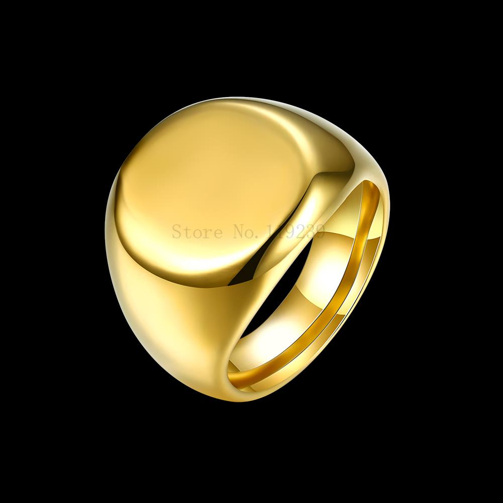 Gr109 2017 New Fashion Men Yellow Gold Color Ring Simple Blank Margin Jewelry Item Hot Ing Males S Chunky Designer Jewellery In Rings From