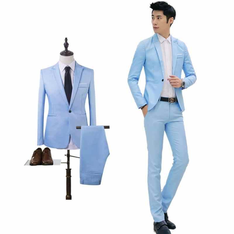 2019 新 Arrvial 春 SpringSuit 男性のためのパンツと結婚式スリムボタンスーツ純粋な色のドレスブレザー
