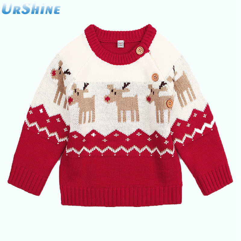 Childrens Winter Sweater Pullover New Year Sweaters For Baby Boys Girls Causal Long Sleeve Toddler Kids Jumpers Autumn Newborn