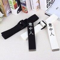 Новый Harajuku китайский письмо печати Дизайн нейлон Ремни для Для мужчин и Для женщин Кнопка Кольцо холст женский ремень cinturon mujer femme 2