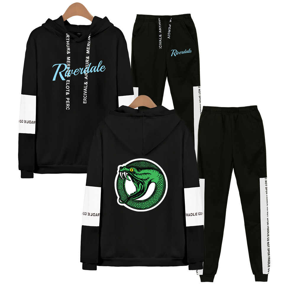 TV Show Riverdale Hoodies Sweatshirt + Sweatpants Suits Men Women Streetwear Hip Hop South Side Serpents Riverdale Two Piece Set