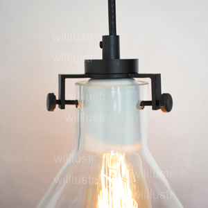 Image 4 - Clear Glass Funnel Pendant Light Transparent Vintage Lamp Edison Filament Bulb American Restaurant Hotel Dinning Room Lighting