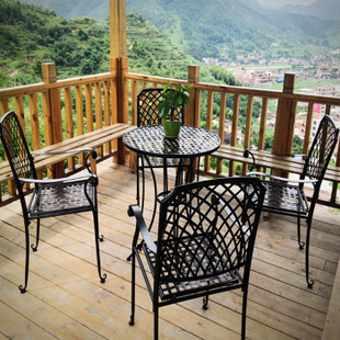 Three-piece wrought iron tables chairs outdoor patio dining table balcony garden combination - jack chen furniture stor store
