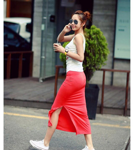 Cheap New Fashion Cotton Thin Woman Summer Skirt Side Split Slit Maxi Skirt Lady Package-hip Straight Slim Modal Long Skirt W563