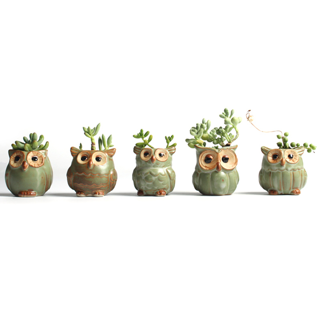 Cartoon Owl Shaped Succulent Plant Ceramic Flowerpot Home Decoration Random Styles Delivery Potted Plants