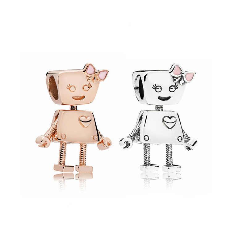 Oro nuevo Color plata Punk Metal Bow knot Robot dijes de cuentas apto Pandora pulseras collares mujeres Original DIY fabricación de joyería