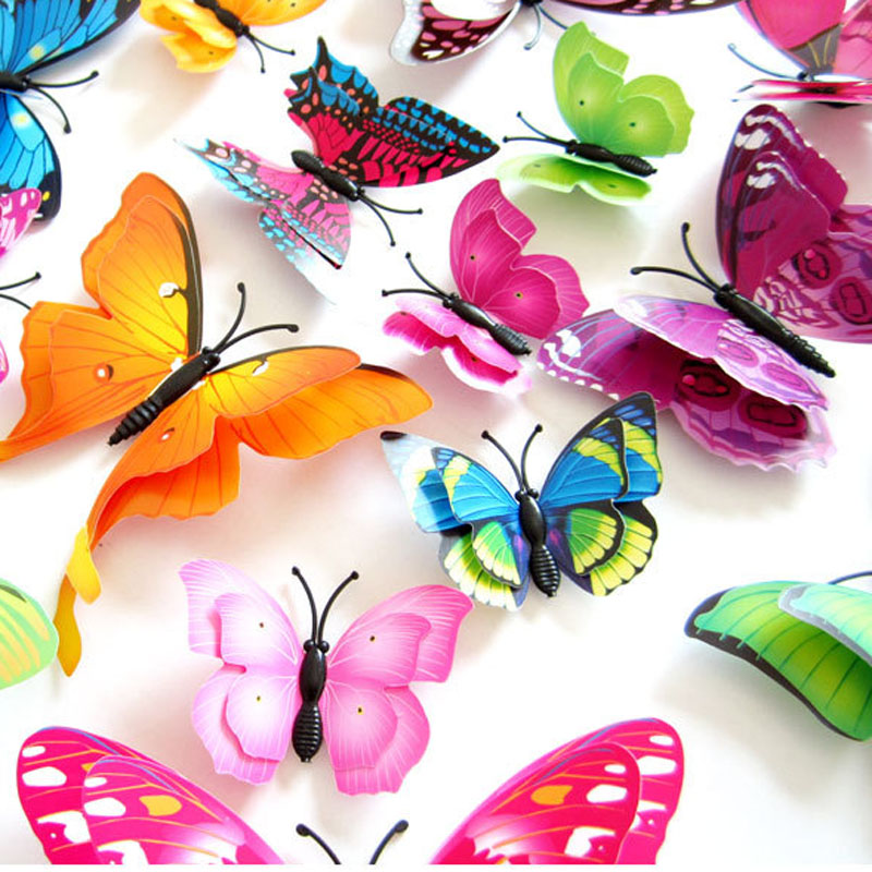 12pcs Plastic 3D Double Layer Wing Artificial Butterfly Magnet Fridge Decor Wall Stickers with Glue Party Wedding Decorative