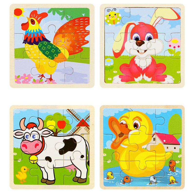 Mini Size 11*11cm Wooden 3D Cartoon Puzzle Jigsaw For Children Kids Cartoon Animal/traffic Puzzles Educational Toy Girl Boy Gift
