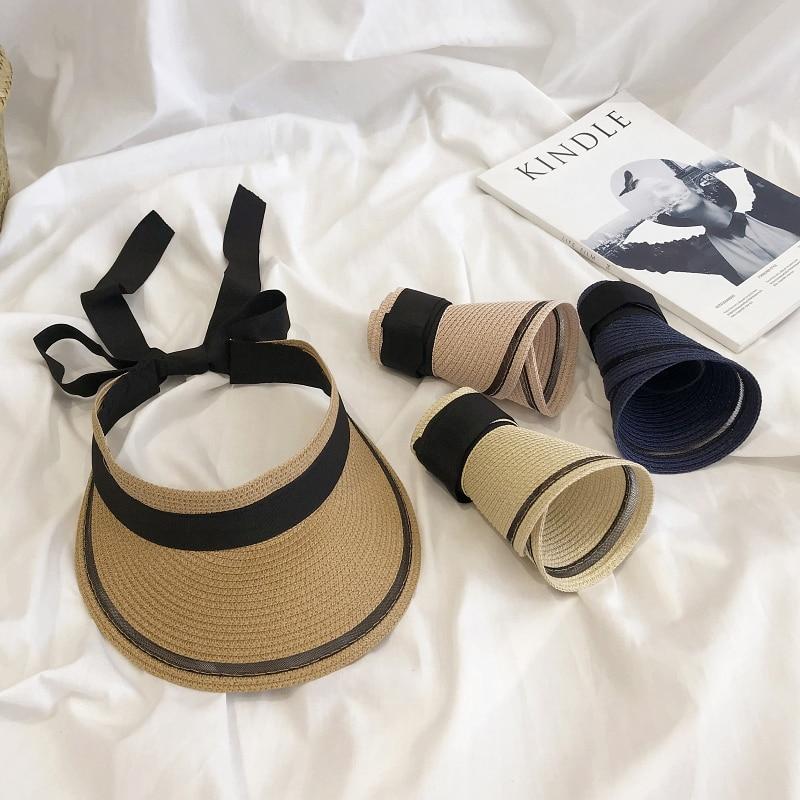 Summer Sunscreen Straw Visor Hat Outing Empty Top Recreational All-match Women Cap Riding Sunshade Adjustable Fashion Hats H7300