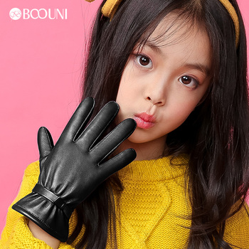 BOOUNI Genuine Leather Children Gloves Autumn Winter Warm Velvet Lined Kids Girls Sheepskin Gloves Five Fingers NW103