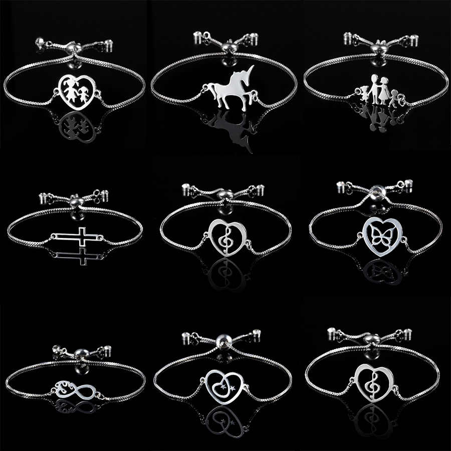 1 Pc Warna Perak Hollow Jantung Catatan Butterfly Liontin Adjustable Gelang Anggota Keluarga Liontin Gelang Fashion Perhiasan Hadiah