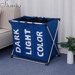 Shushi dirty cloth storage bag  aluminum frame baby toy Clothes  Organizer laundry bucket  Portable collapsible Laundry Basket