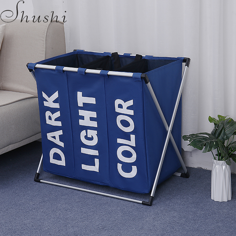 Shushi portable waterproof Laundry Basket Collapsible aluminum frame three grid laundry Organizer dirty cloth toy storage bagShushi portable waterproof Laundry Basket Collapsible aluminum frame three grid laundry Organizer dirty cloth toy storage bag