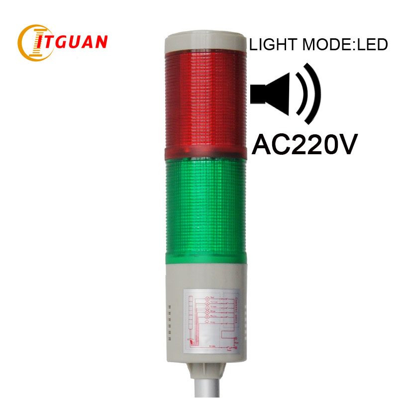 LTA-505J  AC220V 2 Layers signal tower light  with sound 90dB lta 205j 2 dc12v 2 layer tower light signals bulb warning lamp alarm 90db red green u bottom