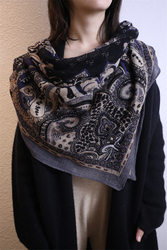 100% boiled wool women cashew flowers print high grade thin scarf shawl pashmina 130x120cm retail wholesale