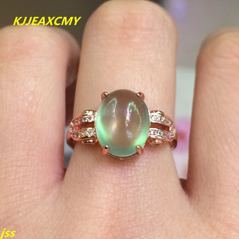 KJJEAXCMY Fine jewelry 925 Silver Natural Gemstone natural grape stone in the ring of rose gold activity ring L69 fine jewelry 925 silver natural prehnites gemstone natural grape stone trumpet ring father s day gift