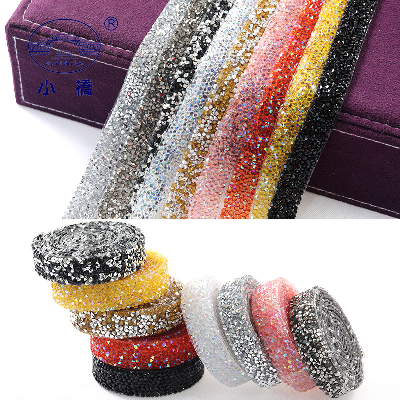 1Yard/pack Hotfix Crystal Rhinestones For Clothing Glass Appliques Ribbon With Rhinestones Colorful Rhinestone Tape Chain S152