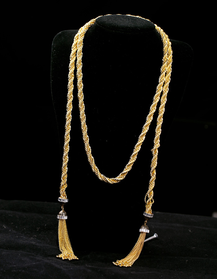 Office Lady Love Exquisite Shiny Chic Gold Color Tassel Long Necklace Fahsion Noble Dress Jewelry for Women