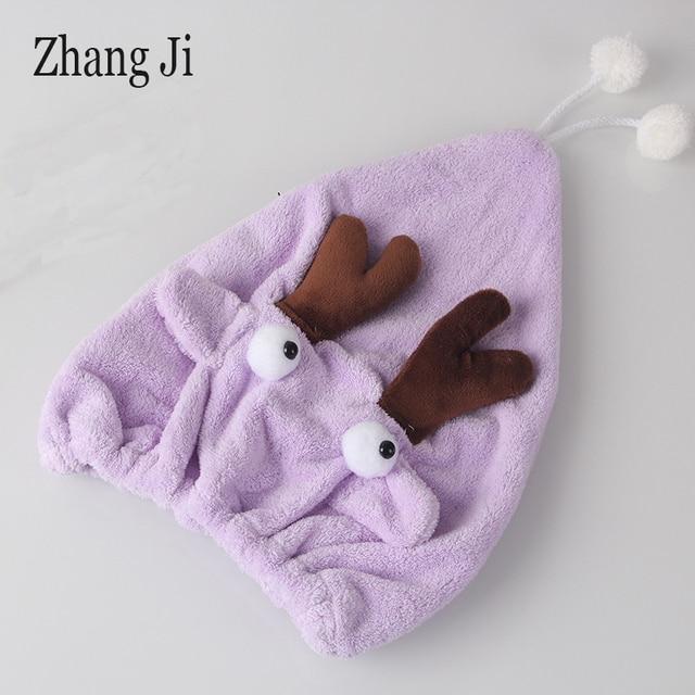 ZhangJi Cartoon wanna turban do suszenia włosów aksamitna śliczne spinki do włosów prysznic kapelusz ręcznik do suszenia szybkie suche Cap łazienka suchy ręcznik Super wchłaniania wody