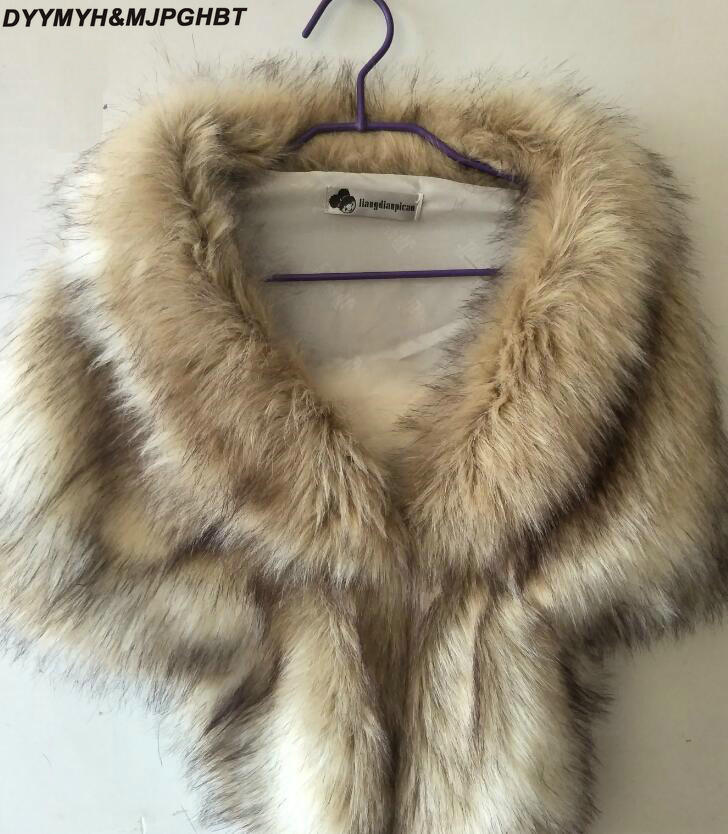 Colorful Faux Fur Wedding Jacket Wrap Gray Shawl Cape Stole Bolero Throw Shrug Coat Christmas Party Cape