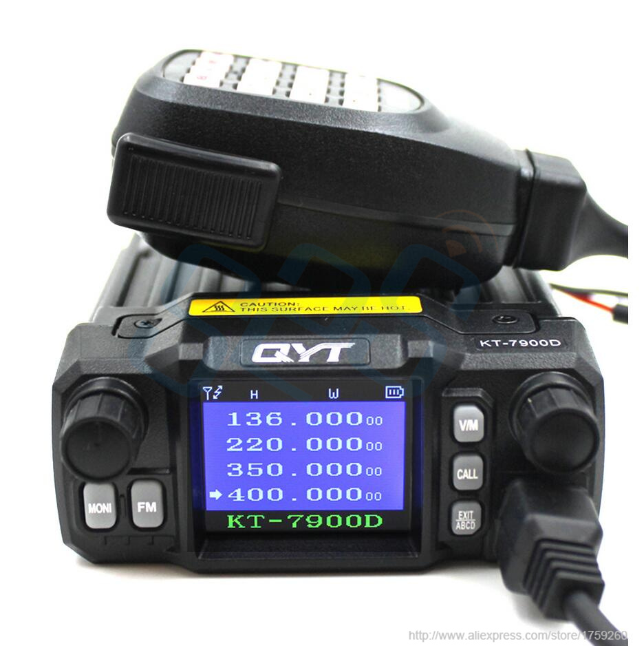 Latest Version QYT KT-7900D Mobile Radio Quad Band Quad Display 144/220/350/440MHZ 25W Car Walkie Talkie Two Way Radio KT7900D
