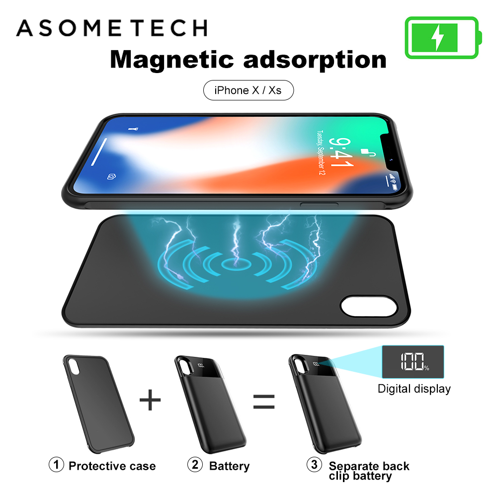 Magnetic Powerbank For Iphone XS XR XS MAX Adsorption Power Bank 5500mAh Led Battery Charging Case