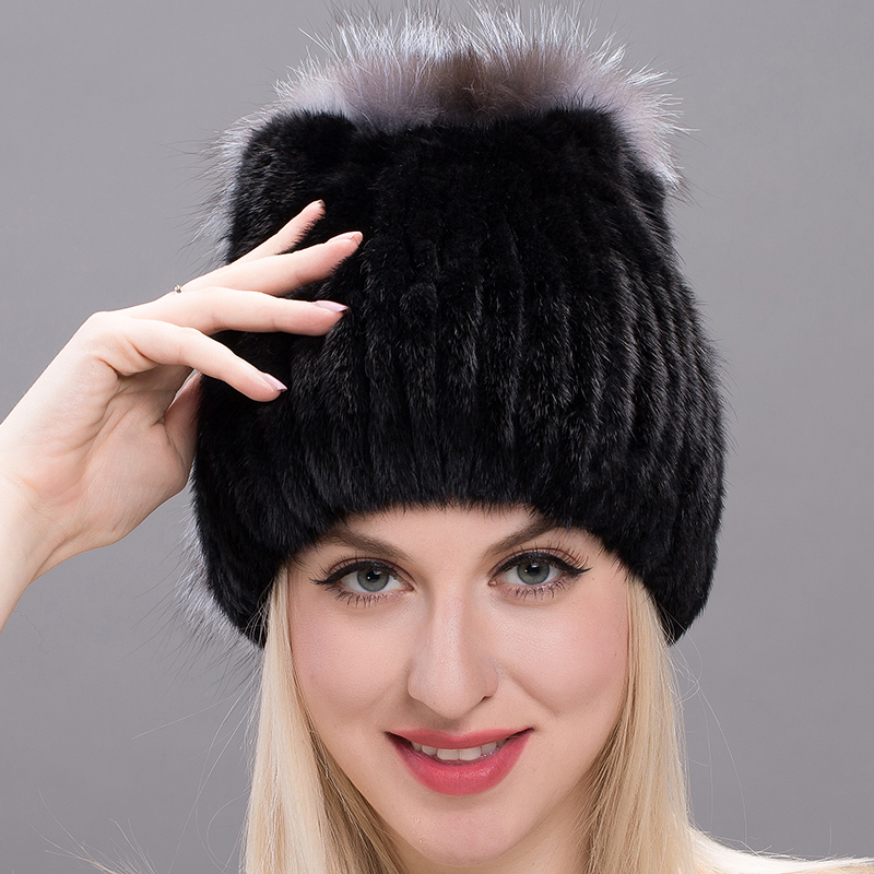 537283d51db24 2018 The new JKP selling mink fur hat Ms. mink tail knitted fox fur cap  warm ear millinery DHY17-09