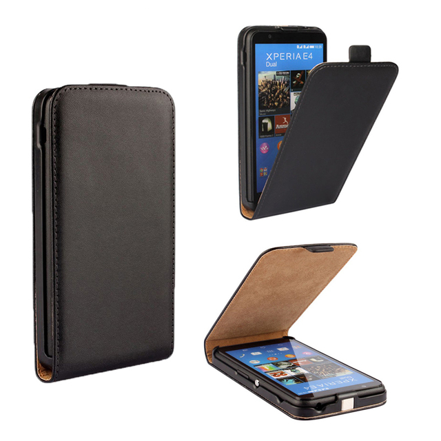 High Quality Genuine Leather Vertical Flip Case For Sony Xperia E4 E2104 E2105 / E4 Dual E2114 E2115 E2124 Cell Phone Cover Bags