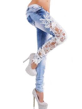 Spring 2017 New Denim Sexy Lace Women Jeans Floral Splice Low Waist Long Pencil Denim Pants Femme Skinny Boyfriend Jeans 66831 denim
