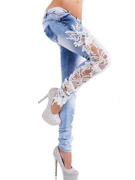 Spring 2017 New Denim Sexy Lace Women Jeans Floral Splice Low Waist Long Pencil Denim Pants Femme Skinny Boyfriend Jeans 66831