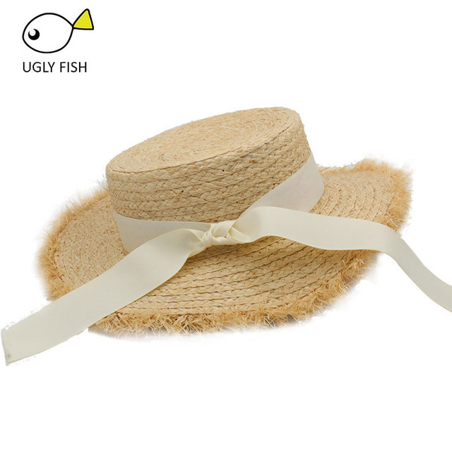 17c94c2f26ed8 hat womens summer adult solid casual straw sun beach hat summer hats for women  boater raffia hat bow