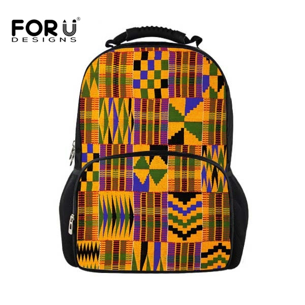 FORUDESIGNS African Traditional Printing School Bags Men Boys Big School Shoulder Bookba ...