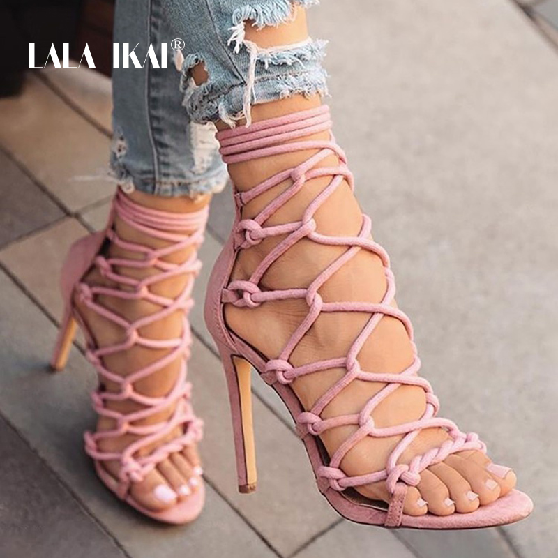 LALA IKAI High Heel Women Summer Gladiator Heeled Sandals Ladies Ankle Strap Sexy Party Shoes Sandalia Feminina 014C1373-5