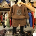 2016 new boys and Girls Brown cashmere sweater + sham two piece suit pants suit free shipping