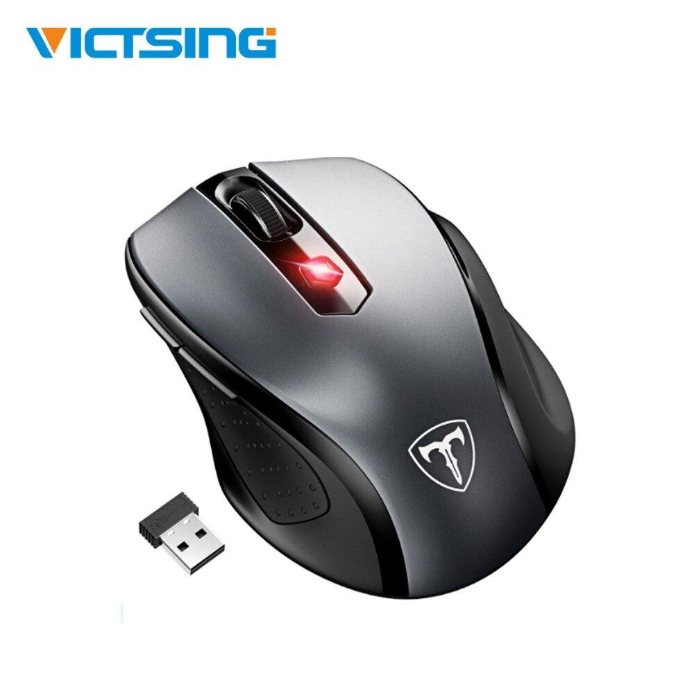 Victsing rato sem fio ergonômico rato móvel 2.4g com receptor usb 5 dpi ajustável 6 botões para computador portátil