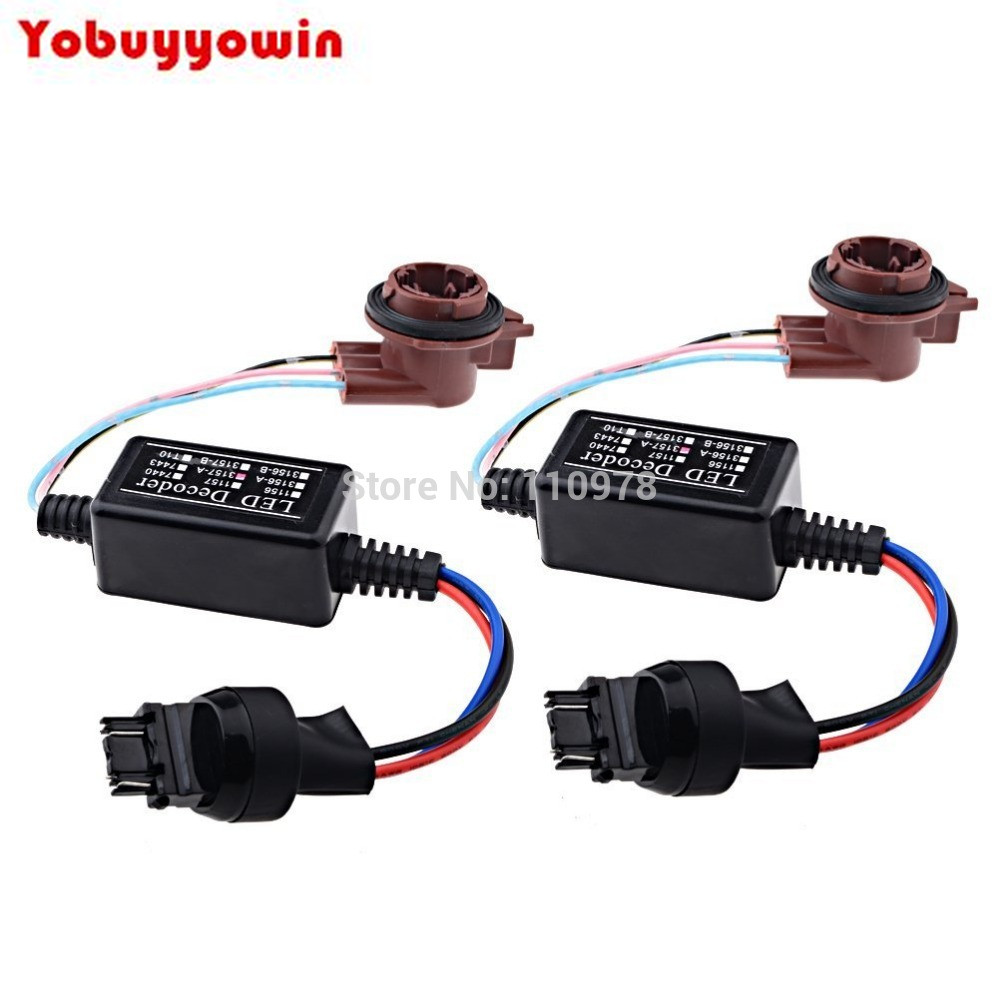 2X 3157 LED Decoder Warning Error Canceller Turn Signal Brake Lamp Anti Flicker Load Resistor Anti Hyper Flashing Blinking Kits