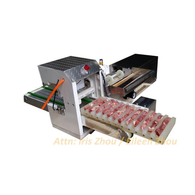 Automatic kebab meat wear string machine, meat stringing machine, meat skewer string machine
