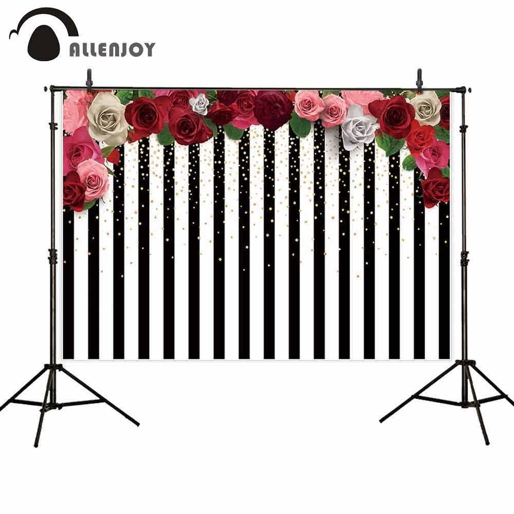 Allenjoy bruiloft achtergronden valentijn bloem zwart wit strepen shiny lente 14 Februari verjaardag photophone achtergrond studio