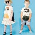 BBK детская Одежда Супергерой Бэтмен мальчиков и девочек Футболка вт Маски и усилитель Брат И Сестра С Коротким рукавом дети