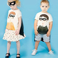 BBK Children's Clothing Superhero Batman baby Boys & girls T-shirt watt Masks and amplifier Brother And Sister Short sleeve Kids
