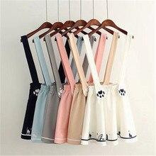 Mini jupe à bretelles, motif mignon de chat Lolita, style japonais Kawaii, imprimé Preppy, cadeau dhalloween Cosplay