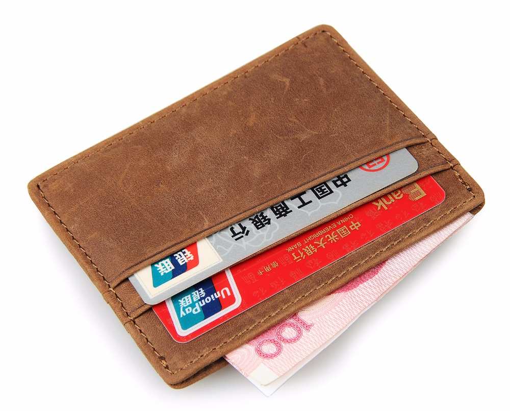 Artmi Mens Slim Card Holder RFID Minimalist Wallet Front Pocket Card Case, Brown ...