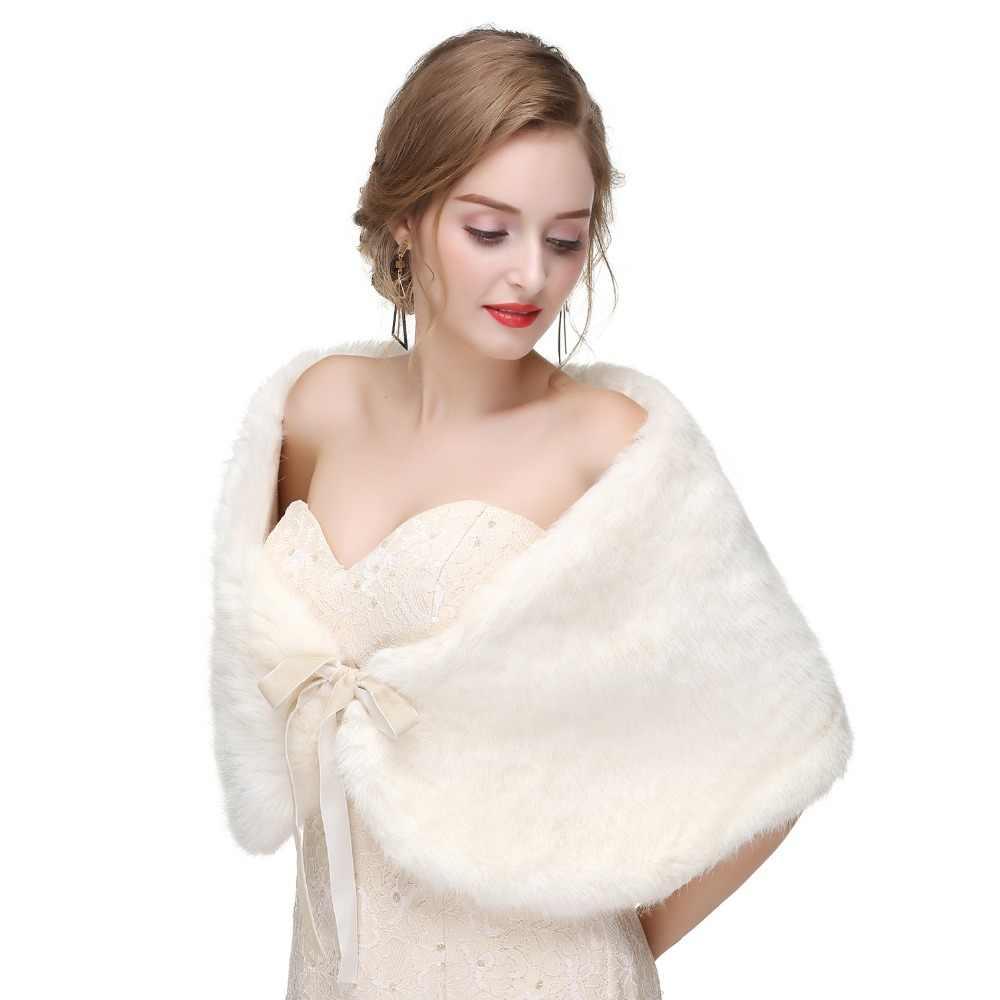 Forevergracedress 2019 Elegan Lembut Musim Gugur Musim Dingin Bulu Imitasi Pengantin Pernikahan Membungkus Bolero Jaket Bridal Mantel Selendang PJ462
