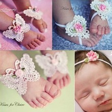 M MISM Cute 3PCS Wristband Foot Ring Fashion Hair Accessories For Newborn Lace Butterfly Baby Headband Photography Head Wrap