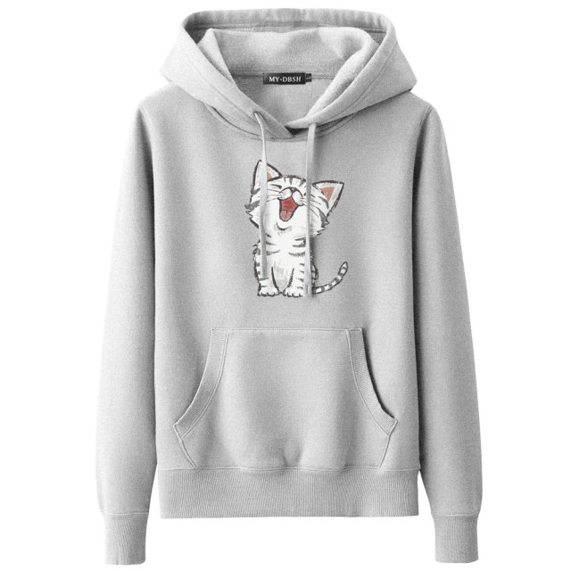 2018 New Sweet Cute Cat Print Hoodie Boys Hoodies Sweatshirt Pullovers Kpop Fans Clothes Oversized Cotton Harajuku Kawaii Tops