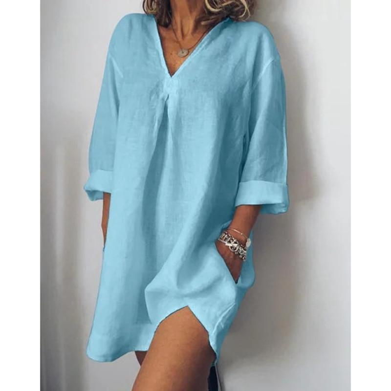 LASPERAL Women Loose Solid Blouse Casual V Neck Long Sleeve Torridity Women Blouse Shirt Cotton Linen Pocket Camisa Blusa Plus Size